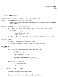 Bar Resume Examples by Resume Faculty Law Teaching Real Estate Transactional Law
