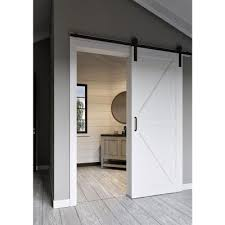 Erias Home Designs Top Of Door Sliding Barn Door Hardware by Jeff Lewis 36 In X 84 In Pacific K Bar Mdf Barn Door With