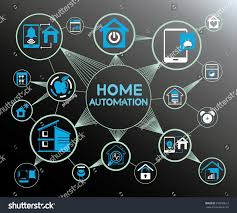 Design Home Network System by Home Automation System Home Automation Network Stock Vector