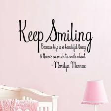 keep smiling marilyn monroe quote wall vinyl decal sticker