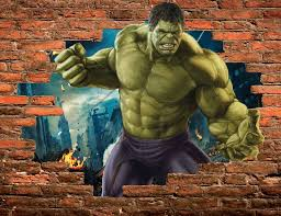 stickers trompe oeil mural stickers trompe l u0027oeil pierre hulk avengers réf 15100 stickers
