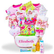 personalized gift for baby baby girl personalized gift basket in the pink