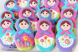 matryoshka russian nesting doll decorated cookies birthday