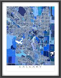 Calgary Map Calgary Map Print Alberta Canada