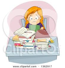 homework design studio stressed red haired white girl sitting at a desk with homework and a