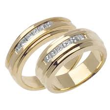 wedding band sets for him and ct tcw his and diamond wedding band set in k yellow gold in