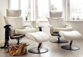 White Chair With Ottoman Fjords Ona Ergonomic Leather Recliner Chair Ottoman Scandinavian