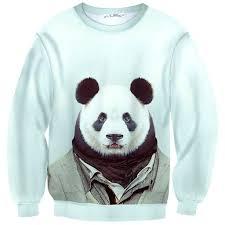 panda sweater panda dressed up portrait print sweater dotoly