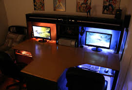 desk gaming computer desk setup awesome computer set up