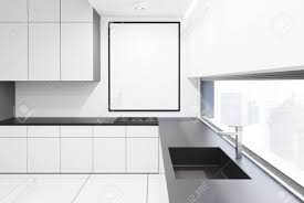 black and white kitchen framed pictures gray and white kitchen interior with a row of countertops and