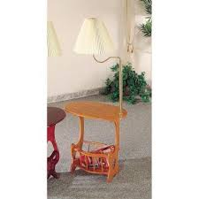 total fab end table with attached lamp and magazine rack