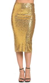 sequin skirt soho glam sequin midi skirt in gold s xl at women s