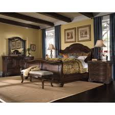 King Size Leather Sleigh Bed Overstock Com Coronado 5 Piece King Size Leather Sleigh Bedroom