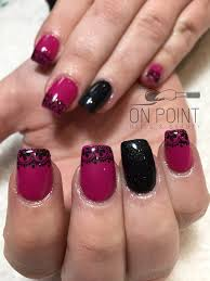 fluid nail design acrylic nails with pink and black gel polish