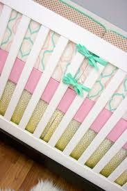 Aqua And Pink Crib Bedding by Mint Pink Metallic Gold Baby Crib Bedding Gold Confetti