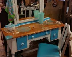 Turquoise Vanity Table Vintage Vanity Desk Royal Blue Silver Salvaged Shabby Chic