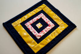 Modern Mug by Spring Patchwork Mini Quilt In Pink Yellow And Indigo Blue