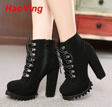 buy womens boots cheap aliexpress com buy heels winter lace up boots high