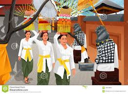 balinese in a traditional celebration stock vector image