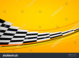Checkered Flag Eps Yellow Racing Background Sport Banner Checker Stock Vector