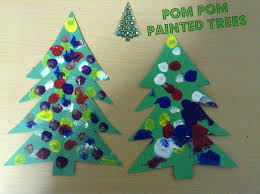 christmas crafts pom pom painting christmas tree blooming brilliant
