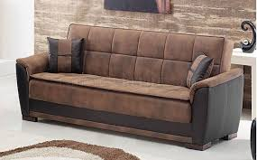 Convertible Sofa Sleeper Tone Brown Treated Microfiber Modern Convertible Sofa Bed