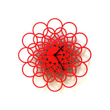 rings red unique contemporary wooden wall clock made of natural