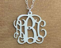 three initial monogram necklace personalized circle monogram necklace silver name necklace 3