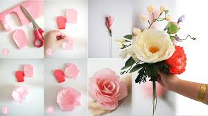 crepe paper flowers diy bridal bouquet with fresh and crepe paper flowers