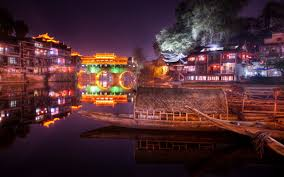 houses china colorful peaceful lake town building boat lights