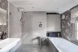 Bathroom Wallpaper Modern Contemporary Grey Wallpaper Bathroom Contemporary With Gray