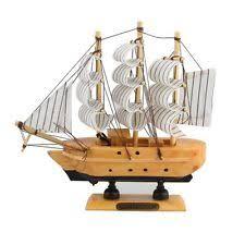 handmade ship craft wooden sailing boat wood canvas sailboat model