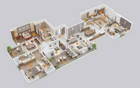 3d Floor Designs by 4 Bedroom Apartment House Plans
