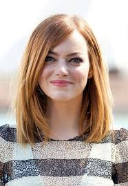 shoulder length hairstyke oval face emma stone medium straight bob for oval faces styles weekly