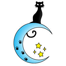 cat on the moon clipart blue moon with yellow tattoosk