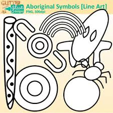 symbols clip australian dreamtime for worksheets b w