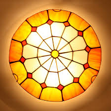 Stained Glass Ceiling Light Marvelous Yellow Glass Ceiling Light Style Flush Mount