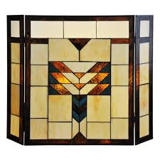 26 inch mission style stained glass fireplace screen ebay also