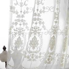 Embroidered Sheer Curtains Embroidered Sheer Curtains European Palace Designs Beige Window