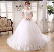 marriage dress floral lace shoulder royal wedding dress appliques boat neck