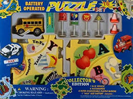 puzzle car set battery operated school toys