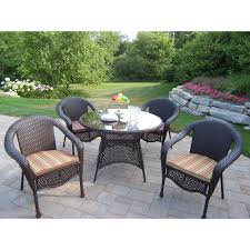 Wicker Resin Patio Chairs Oakland Living Elite Resin Wicker 5 Patio Dining Set With