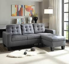 grey fabric modern living room sectional sofa w wooden legs 2 pc earsom ii collection grey linen fabric upholstered sectional