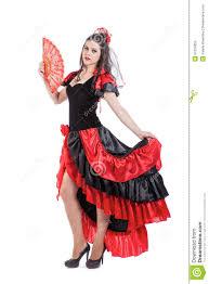 Spanish Dancer Halloween Costume Traditional Spanish Flamenco Woman Dancer Red Stock Photo