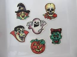 12 edible scary halloween faces cake toppers pink hibiscus
