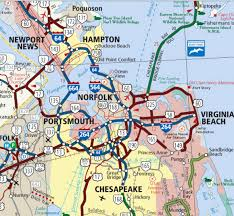 map of roads where is tidewater in virginia hton roads