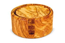 wooden drink coaster wine set and accessories for wine in olive wood arte legno spello