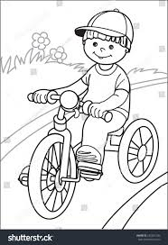 boy on bicycle boy cap goes stock vector 242981236 shutterstock