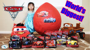 disney cars 3 giant egg surprise 100 car toys elsa lightning