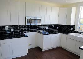 Kitchen Tile Backsplash Ideas With Granite Countertops White Cabinets Black Granite Countertops White Subway Tile With